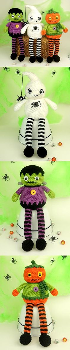 Halloween Longlegs Dolls amigurumi pattern by Janine Holmes at Moji-Moji Design