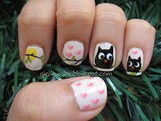 ojeli günler nail art - adorable owls and pink hearts