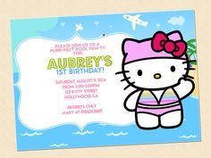 Hello Kitty Birthday Invitation Swimming Party Digital Illustration on Etsy, $10.00