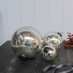 Silver Antiqued Baubles