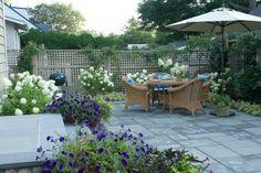 terrasse gestaltung-Möbel Garnitur-ideen sichtschutz zaun-bepflanzung