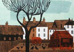 Kentish Village Linocut by Robert Tavener Woodcut Art, Wood Engraving, Silkscreen, Beautiful Paintings, Art Techniques, Graphic Illustration, Art Prints, Lino Prints, Drawings
