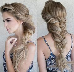blonde long hairstyle + mermaid braid