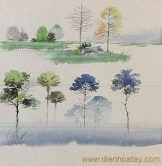 Diễn họa cây bằng màu nước của Đinh Hải- DIỄN HỌA TAY.com
