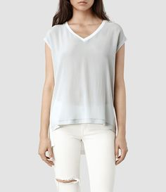 Womens Rhoda Top (Chalk/Ice) | ALLSAINTS.com