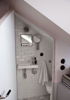 Amazing Attic renovation cost uk,Attic bathroom wall and Attic remodel to bedroom. Bathroom Under Stairs, Small Toilet Room, Tiny Apartment, Shower Room, Attic Bathroom, Apartment Bathroom, Small Bathroom, Bathroom Decor, Downstairs Toilet