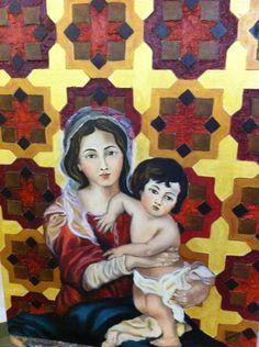 Olio su tavola 60x80 Madonna con bambino( omaggio a Murillo) autore Carmela Ceparano