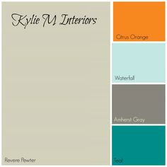 revere pewter paint colour palette for boys room with orange, blue, charcoal gray and teal with benjamin moore