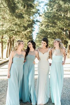 Gelique Annabelle dresses in complimentary shades of blue. Such a beautiful bride and bridal party! Annabelle Dress, Fabric Combinations, Bridesmaid Dresses, Wedding Dresses, Every Woman, Shades Of Blue, Beautiful Bride, Compliments, Custom Made