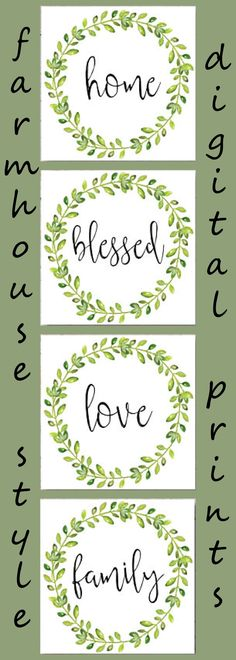 Home, Blessed Love, Family.  So perfect for a gallery wall.  Download these prints, frame and hang.  Beautiful farmhouse style.  #digitaldownload #farmhousestyle #digitalprints #wreath #affiliate