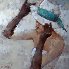 Andre Kohn-On a Theme of Turquoise Painted Hats, Canvas Painting Tutorials, Painter Artist, People Art, Portrait Art, Contemporary Artists, Illustration Art, Decoupage, Paintings