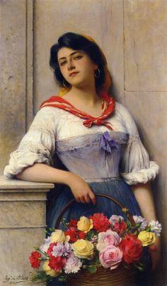 """Eugene de Blaas. (Austrian Academic painter, 1843-1931) """"Flower Seller"""""""