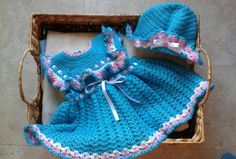 Check out this item in my Etsy shop https://www.etsy.com/listing/229254590/crochet-baby-girl-dress-and-floppy-hat