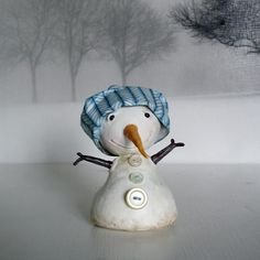 First Edition, Paper Clay, Sculpture, Snowman, CHIP