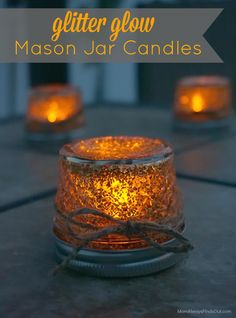 Glitter Mason Jars with LED Tealight Candles Craft - So easy and they glow so pretty!