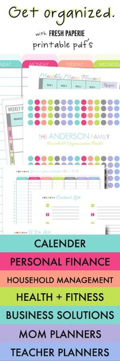How to get organized! Printable PDFs to create custom organisation binders