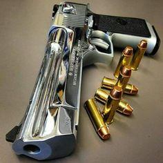 Magnum Research Desert Eagle in polished chrome Ninja Weapons, Weapons Guns, Airsoft Guns, Guns And Ammo, Big Guns, Cool Guns, Armas Airsoft, Armas Wallpaper, Magnum Research