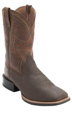 Ariat Sport Men's Distressed Brown Double Welt Wide Square Toe Western Boots