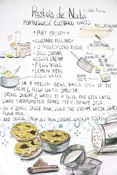 Pasteis de nata recipe illustration by Stella Pereira Portuguese Desserts, Portuguese Recipes, Portuguese Food, Custard Tart, Custard Filling, No Bake Desserts, Dessert Recipes, Egg Tart, Cupcakes
