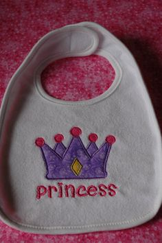 Appliqued Baby  Princess Bib by sewsewcutesewing on Etsy, $6.00