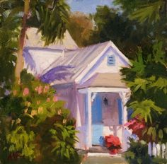 Little Conch House Afternoon -6x6, painting by artist Mike Rooney