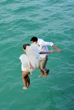 Our Barbados Wedding cliff jump!