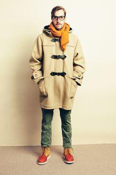 bal original leather strap duffle coat / diemme firenze work boot