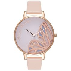Olivia Burton Embroidered Butterfly Watch - Nude Peach & Rose Gold ($185) ❤ liked on Polyvore featuring jewelry, watches, quartz movement watches, wing jewelry, rose gold wrist watch, white dial watches and red gold watches