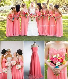 Combina el color del vestido del cortejo para que resalte el blanco de tu vestido, así como en estos en Coral.