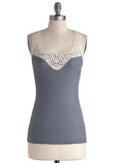 DIY Day Top - Sheer, Knit, Woven, Grey, White, Solid, Crochet, Lace, Grey, Sleeveless, Good, Tank top (2 thick straps), Scoop, Mid-length, L...