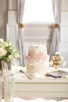 """Photographed by SLF, this inspirational shoot captures the essence of the film """"Sixteen Candles"""" with beautiful roses and blush, blue, khaki colors. Taupe Wedding, Wedding Cake Rustic, Cool Wedding Cakes, Beautiful Wedding Cakes, Wedding Desert, Wedding 2015, Wedding Shoot, Wedding Ideas, Wedding Trends"""