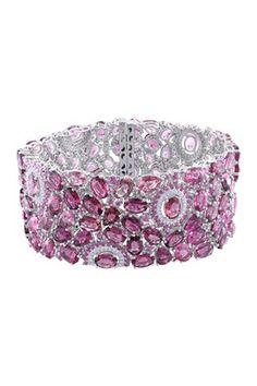 14K White Gold Diamond, Pink Tourmaline & Pink Sapphire Bracelet