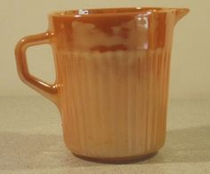 fFINAL PRICE!  FIRE KING-ANCHOR HOCKING PEACH LUSTRE/LUSTER RIBBED CREAMER, EXC.