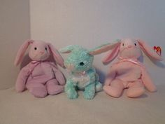 HOPPITY FLOPPITY SPRING into EASTER TY Beanie Babies Collection 3 Bunny Lot #TyBeanieBabyOriginal