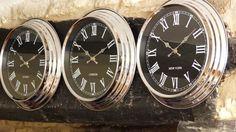 World clocks black 3 parts vintage retro industrial chrome face black World Clock, Wall Clocks, Retro Vintage, Chrome, Face, Chiming Wall Clocks, The Face, Faces, Facial