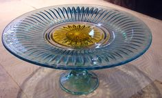 Blue and Yellow Cake Plate Glass Cake Stand Pedestal Hand Painted Glassware Kitchen Serving Cup Cake, Cake Plate, Pie Plate, Serving Platter