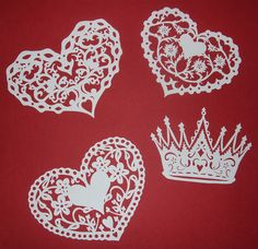 original scherenschnitte drawings/cuttings ~ edelweiss heart, crown, flower heart and heart within a heart