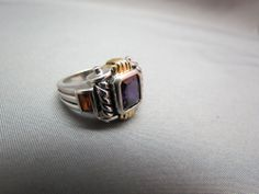VTG Sterling Silver Ring 925 Chunky Colorful Stone 7 Purple Red Gold 8 grams David Yurman look. SOLD!