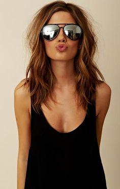 hair, lips, sunglasses