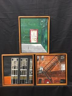 "Title: Pieces / Artist: Jodie Dilno / Acrylic / 2: 12x12, 1: 11x14 / $550 / This is a 3-piece architectural series entitled and includes ""Reflections,"" ""Door No.3,"" and ""escape."" ""Reflections"" and ""Door No.3"" are painted from photographs I took while wandering downtown Grand Rapids. ""Escape"" was found in my hometown of Hastings. Acrylic Painting Canvas, 3 Piece, Wander, Original Artwork, Photographs, Architecture, Frame, Artist, Arquitetura"