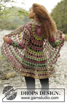 "Fall Festival / DROPS 171-21 - Virkad DROPS cirkelkofta i ""Big Delight"". Stl S - XXXL. - Free pattern by DROPS Design"