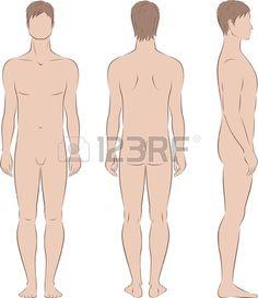 illustration of men s figure  Front, back, side views  Silhouettes Illustration