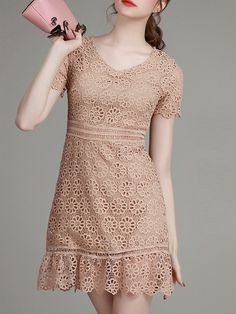 Buy it now. Brown V Neck Crochet Hollow Out Dress. Brown V neck Short Sleeve Polyester A Line Short Plain Fabric has no stretch Summer Casual Day Dresses. , vestidoinformal, casual, camiseta, playeros, informales, túnica, estilocamiseta, camisola, vestidodealgodón, vestidosdealgodón, verano, informal, playa, playero, capa, capas, vestidobabydoll, camisole, túnica, shift, pleat, pleated, drape, t-shape, daisy, foldedshoulder, summer, loosefit, tunictop, swing, day, offtheshoulder, smock, p...