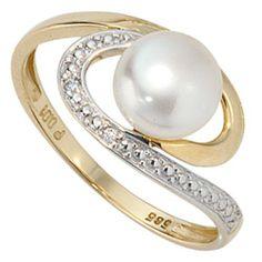 Dreambase Damen-Ring teilrhodiniert 14 Karat (585) Gelbgold Süßwasser-Zuchtperle 2 Diamant 0.01 ct. 52 (16.6) von Dreambase, http://www.amazon.de/dp/B00AEEK53E/ref=cm_sw_r_pi_dp_zl..qb1H1EB49