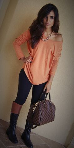 Fall Outfit: Comfy and Chic Outfit.....Slouchy Peach / Light Orange / Coral Long-Sleeve Shirt/Blouse + Black Leggings + Knee High Boots