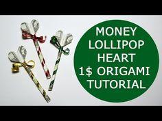 Money Lollipop Origami 1 Dollar Tutorial DIY Folded No glue Origami Car, Origami Bowl, Origami Mouse, Origami Star Box, Origami Fish, Origami Folding, Origami Instructions, Origami Tutorial, Origami Love Heart