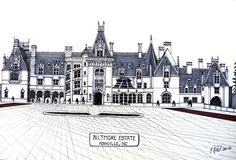 Pen and ink drawing by Frederic Kohli of the famous Biltmore Estate in western North Carolina. (prints available at http://frederic-kohli.artistwebsites.com.