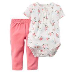 Carter's Flower Bodysuit & Pants Set - Baby Girl, Size: