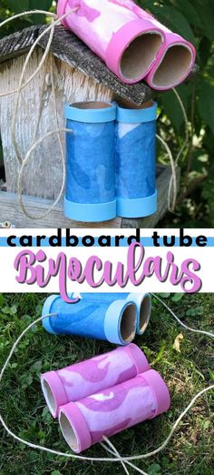 Make this fun cardboard tube binoculars with the kids using toilet paper tubes and felt. Use your binoculars to check out wildlife or have a make believe safari! #cardboardtubecrafts #cardboardtubebinoculars #howtomakebinoculars #summercraftsforkids #easycraftsforkids #kidscrafts #craftsbyamanda