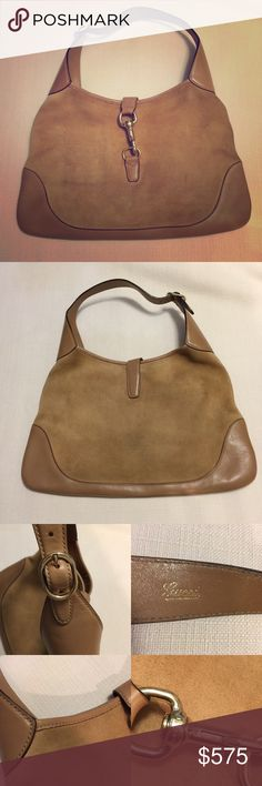 Gucci Jackie O Bouvier Hobo 100% authentic Gucci Jackie O bag in camel suede and leather. Gold hardware. Very minor discoloration on suede from rubbing on clothes. Gucci Bags Hobos